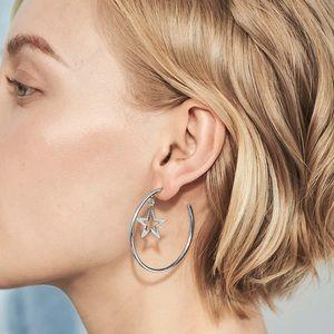 Jewelry - Silver 3/4 Hoops w/Dangling Star Earrings